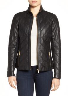 Badgley Mischka Eloise Quilted Leather Moto Jacket