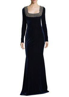 Badgley Mischka Embellished Beaded Square-Neck Stretch-Velvet Evening Gown