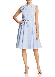 Badgley Mischka Embellished Fit-and-Flare Shirt Dress