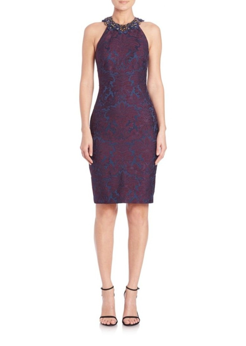 Badgley Mischka Embellished Jacquard Racerback Dress