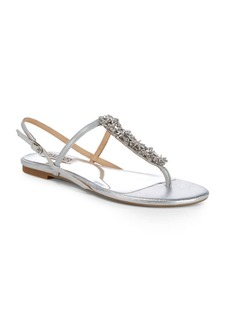 Badgley Mischka Embellished Leather Thong Sandals