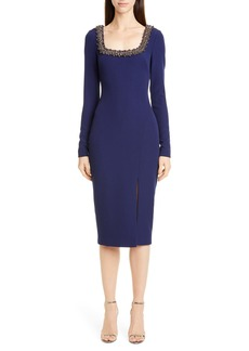 Badgley Mischka Embellished Long Sleeve Sheath Dress