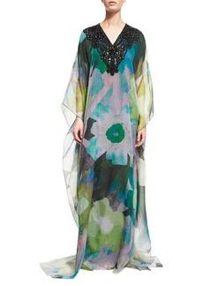 Badgley Mischka Embellished-Neck Floral-Print Caftan