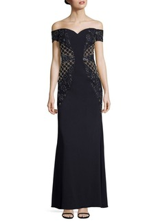 Badgley Mischka Embellished Off-The-Shoulder Gown