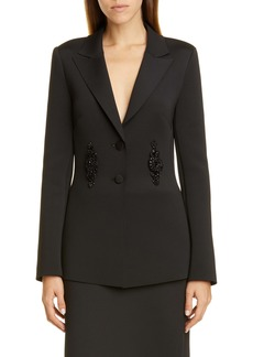 Badgley Mischka Embellished Scuba Knit Jacket