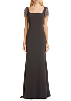 Badgley Mischka Embellished Sleeve Gown