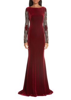 Badgley Mischka Collection Embellished Sleeve Velvet Gown