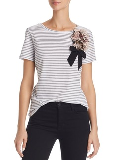 Badgley Mischka Embellished Stripe Tee