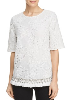 Badgley Mischka Embellished Tassel Hem Lace Top