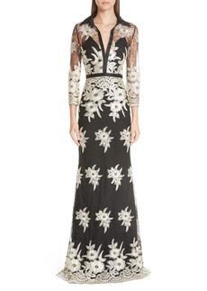 Badgley Mischka Platinum Embroidered Lace Stretch Silk Column Gown