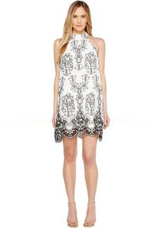 Badgley Mischka Embroidered Linen Trapeze Dress