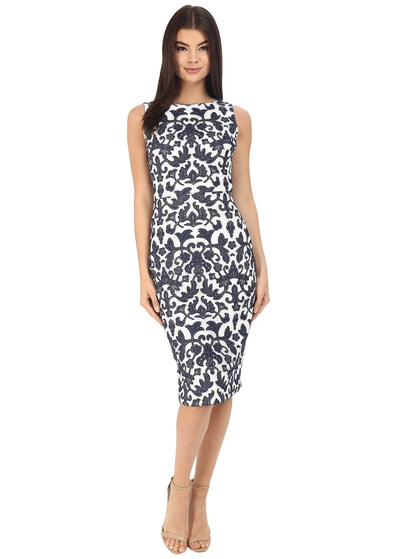 Badgley Mischka Embroidered Mesh Sheath
