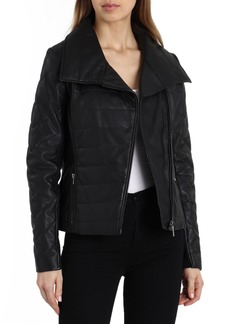Badgley Mischka Envelope Collar Quilted Leather Biker Jacket