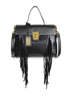 Badgley Mischka Farrah Fringe Leather and Calf Hair Satchel