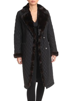 Badgley Mischka Faux Fur Diamond Quilt Walker Coat