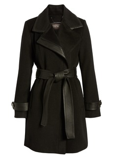 Badgley Mischka Faux Leather Trim Wool Blend Coat