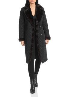 Badgley Mischka Faux Mink-Trim Quilted Coat