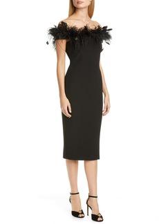Badgley Mischka Feather Cocktail Dress