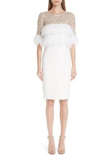 Badgley Mischka Platinum Feather Cocktail Dress