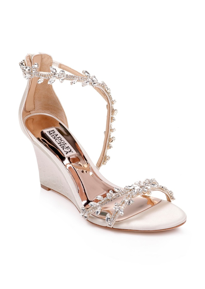 Badgley Mischka Feather Crystal Embellished Wedge Sandal (Women)