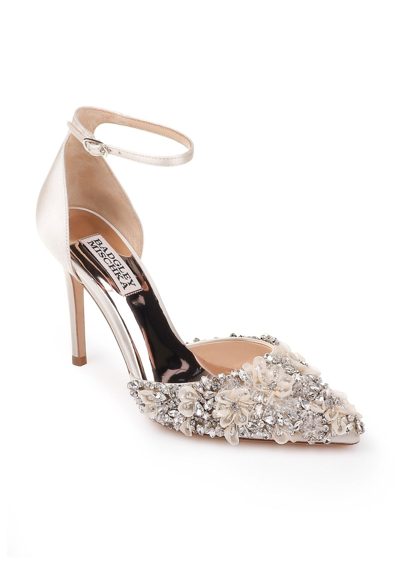 Badgley Mischka Fey Embellshed Ankle Strap Pump (Women)