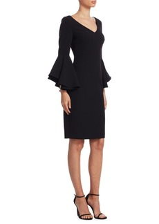 Flare-Sleeve Sheath Dress