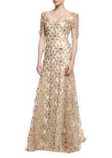 Badgley Mischka Floral-Appliqué Half-Sleeve Gown