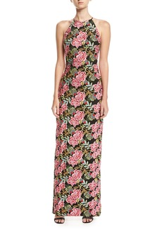 Badgley Mischka Floral-Embroidered Halter Gown