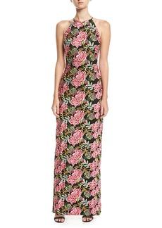 Badgley Mischka Floral-Embroidered Halter Gown