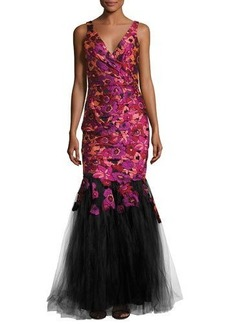 Badgley Mischka Floral-Embroidered Mermaid Gown