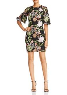 Badgley Mischka Floral Lace Bell Sleeve Dress