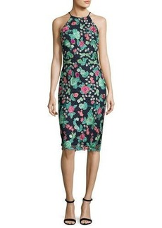 Badgley Mischka Floral Lace Sleeveless Sheath Dress