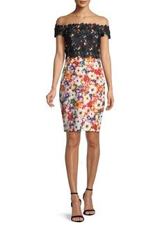 Badgley Mischka Floral Off-the-Shoulder Dress w/ Lace Top