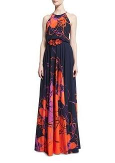 Badgley Mischka Floral-Print Halter Gown w/Beaded Applique
