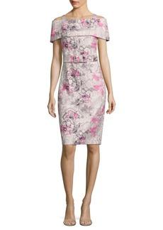 Badgley Mischka Floral Printed Sheath Off-The-Shoulder Dress