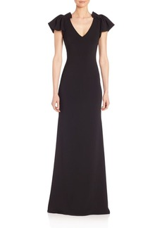 Badgley Mischka Flutter-Sleeve Gown