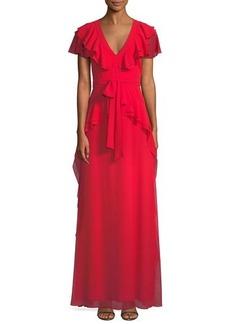 Badgley Mischka Flutter-Sleeve Peplum-Waist Gown
