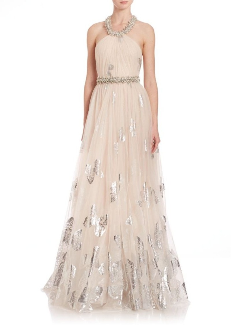 Badgley Mischka Foiled Tulle Erfly Gown
