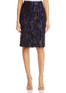Badgley Mischka Frayed Floral Pencil Skirt
