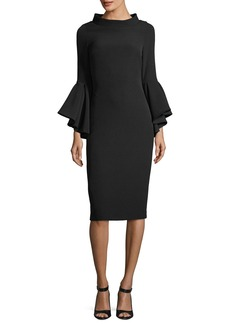 Badgley Mischka Funnel-Collar Bell-Sleeve Sheath Crepe Cocktail Dress