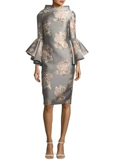 Badgley Mischka Funnel-Neck Flutter-Sleeve Floral-Jacquard Cocktail Dress