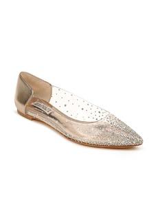 Badgley Mischka Gabi Embellished Pointed Toe Flat (Women)
