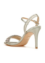 Badgley Mischka Collection Garan Crystal Embellished Satin Sandal (Women)