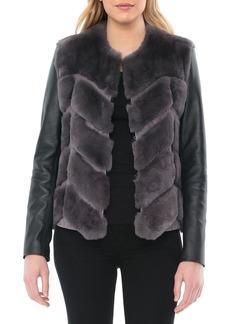Badgley Mischka Genuine Rabbit Fur & Leather Jacket