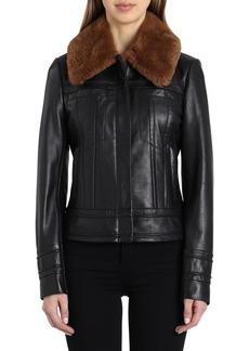 Badgley Mischka Genuine Rabbit Fur Collar Leather Aviator Jacket