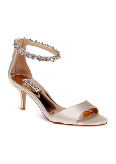 Badgley Mischka Geranium Embellished Ankle Strap Mid Heel Sandals