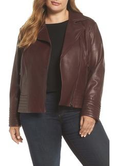 Badgley Mischka Gia Leather Biker Jacket (Plus Size)