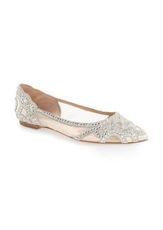 Badgley Mischka 'Gigi' Crystal Pointy Toe Flat (Women)