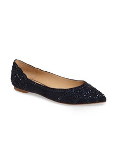Badgley Mischka Gigi Crystal Pointy Toe Flat (Women)