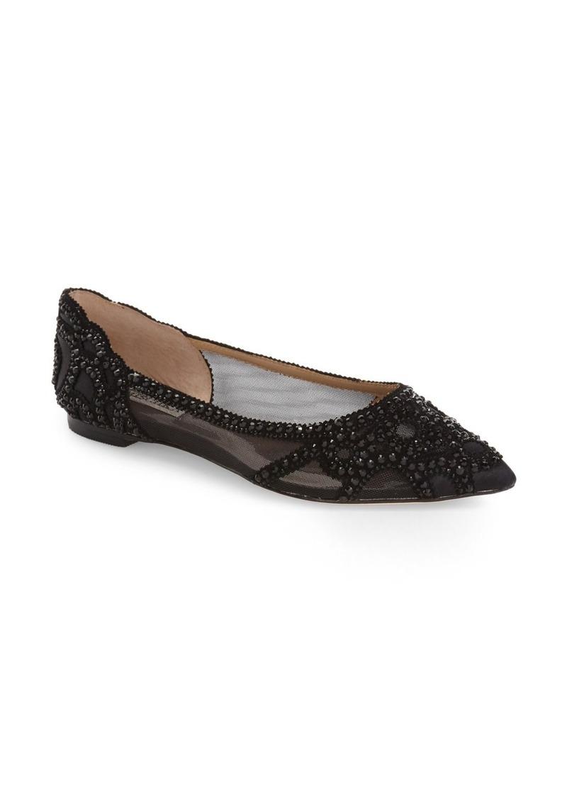 Badgley Mischka Gigi Crystal Pointed Toe Flat (Women)